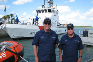 Mike McConnell & John Hulen in front of USCGC Bluefin, Ft. Pierce, FL